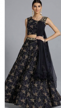 Navy Blue Patterned Lehenga With Pretty Dupatta